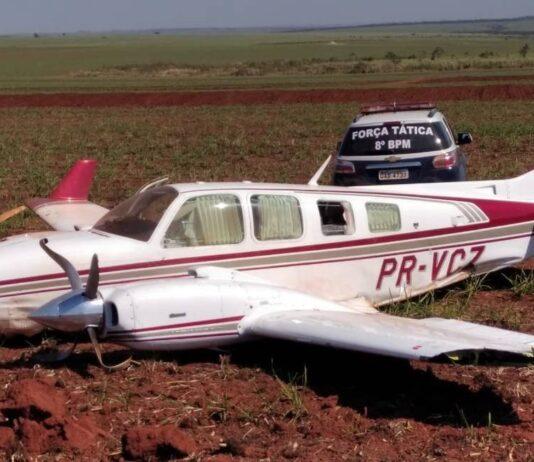 Avião foi interceptado com 516 kg de cocaína Foto: Divulgação Polícia Militar do MS